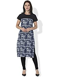 BLUEPOCKET Kurti / Kurta For Women(Cotton, Cap Sleeves, Black And Blue)