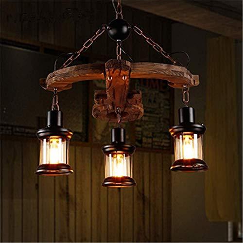TAIYH Vintage Kreative Hängelampe Armbrust Modellierung Massivholz Deckenbeleuchtung Mit 3 Köpfen Schmiedeeisen Glaskäfig Schatten E27 Durchmesser 21.6 Zoll [Energieklasse A++]