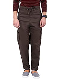 Hypernation Brown Twill Cotton Cargo Pant For Men