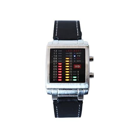 HDE Crimson Gold and Green Men's Watch Design Equalizer LED Techno Rave Party Leather Watch