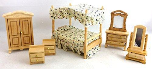 Puppenhaus 1:24 Maßstab MINIATUR EICHE Baldachin 4 Poster Bett Schlafzimmer Möbel - Schlafzimmer Möbel Baldachin