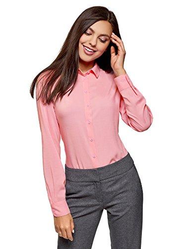 oodji Ultra Mujer Blusa Básica de Viscosa, Rosa, ES 44 / XL