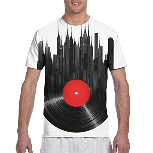 T-Shirt Men's Casual Short Sleeve The Record Printed Shirts Tee X-Large