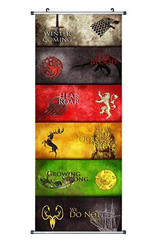 Großes Game of Thrones Rollbild / Kakemono aus Stoff Poster, 100x40cm, Motiv: Mottos der Häuser