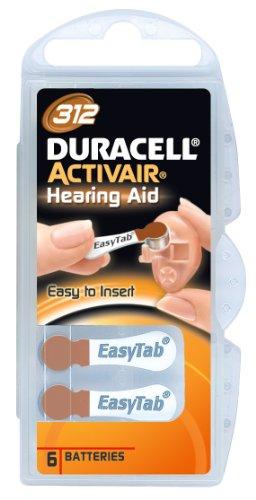 Duracell - 6 Batterie Activair Tipo 312 per apparecchi acustici, Confezione da 10