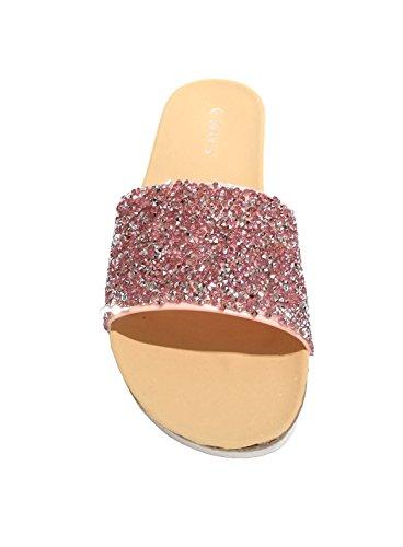 Siebis Amalfi Tongs de Piscine Chaussures de Plage Mules Femmes Rose