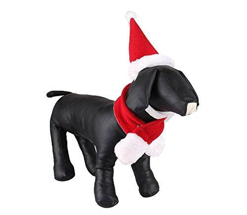 OUUD Crazy Shop Fashion Plüsch Weihnachten Hund Santa Hat & Schal Set Pet Kostüm Zubehör für Urlaub Party Weihnachten (Crazy Santa Kostüm)