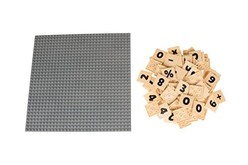 """Strictly Briks MathBriks - Stapelbare Bauplatte & 95 Zahlen-Plättchen mit 4 x 4 Noppen zum Lernen & Spielen - 100 % kompatibel mit allen führenden Marken - Graue Bauplatte 10 x 10"""" (25,4 x 25,4 cm)"""