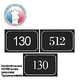 Plaque de numéro de rue PVC | numéro de maison | Plaque gravée à personnaliser 15 x 10 cm | 17 couleurs disponibles (Noir)
