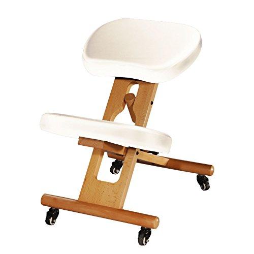 Ergonomischer Kniehocker, verstellbarer Stuhl aus Buchenholz mit Polsterung, Sitz und Kniepolster mit Kunstleder-Bezug, beige, Therapeutenhocker, gepolstert, Bürostuhl, PU-Bezug