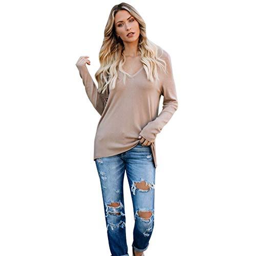 Tianwlio Damen Lässige Langarmshirt Hoodie Pullover Weihnachten Solide Langarm Lose Reißverschluss V-Ausschnitt Tops Shirt Lässige Tunika Bluse Beige S,