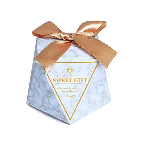 TGQETC Neue Diamant Marmor Hochzeit Gunsten Pralinenschachtel Geschenkboxen Baby Dusche Papier Geschenk Schokolade Boxen für Gäste Geschenk Taschen Party Supplies 20 STÜCKE Gold (Hochzeit Gunsten Box-gold)