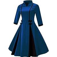 Gran tamaño de la primavera y el verano de Europa y los Estados Unidos nuevo mosaico golpeó el vestido grande ( Color : Blue , tamaño : S )