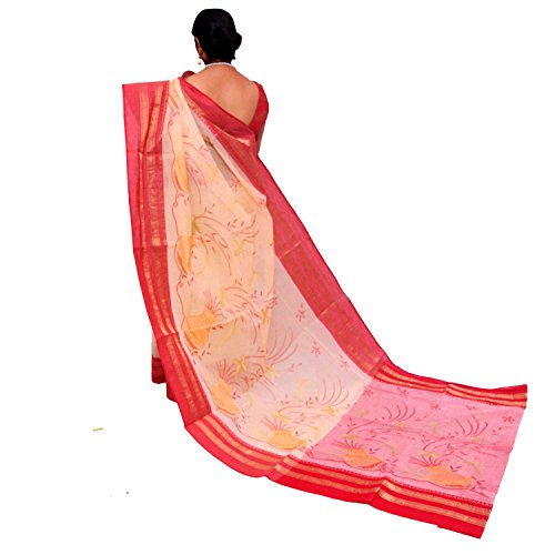 Annapoorna Women's Bengali Dhan Kalash Handloom Red Color Saree Without Blouse