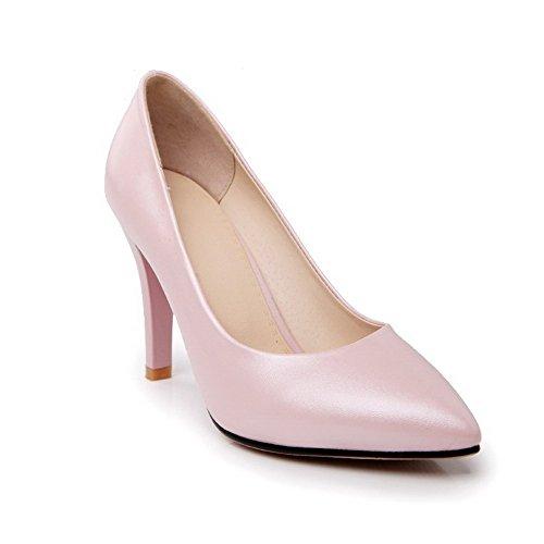 VogueZone009 Damen Ziehen Auf Stiletto Pu Leder Spitz Zehe Pumps Schuhe Pink