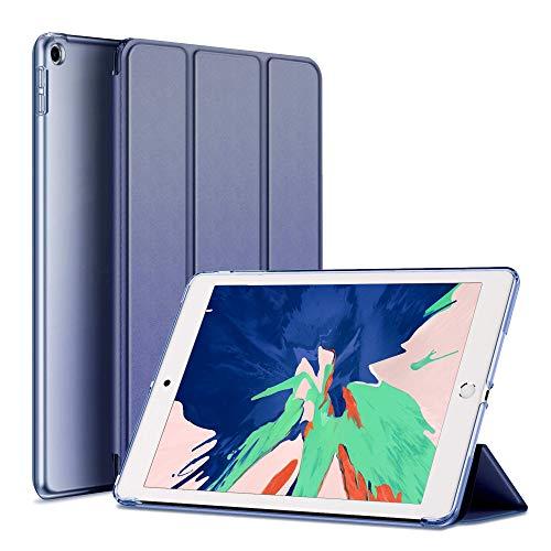 aoub Hülle für iPad 9.7 2018/2017 Utradünn superleicht DREI Falten sturzsicher robust transparente Rückseite Schutzhülle mit Auto Schlaf/Wach für iPad 6. Generation / 5. Generation (Navy) (Charme Für Das Ipad)