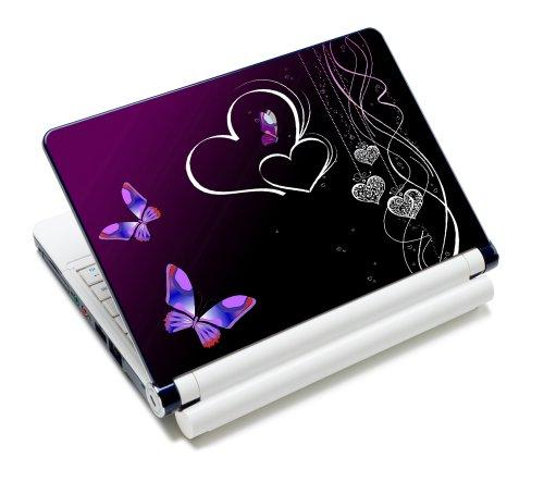 wortek Universal Laptop Aufkleber für Notebooks bis ca. 13,3 Zoll - Herzen Schmetterling Schwarz Lila