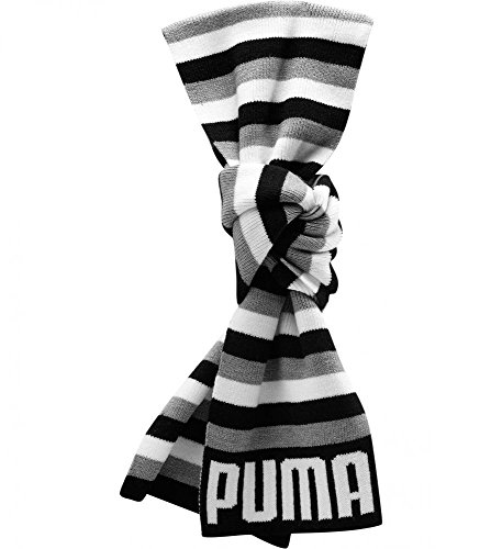 Puma unisex grey white black striped graphic winter scarf 70x 8 052136 01 by Puma