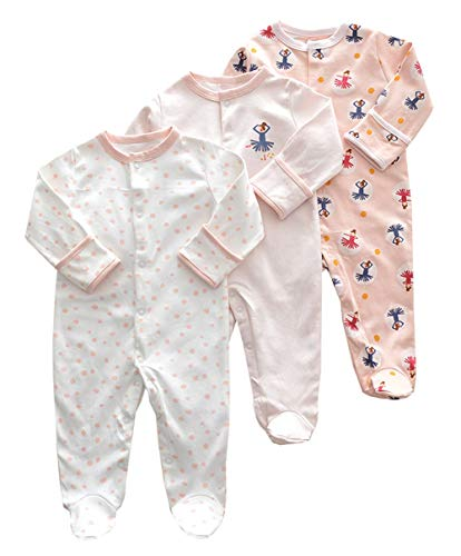 Footie Sleeper (ALLAIBB Neugeborenes Baby Unisex 3 Pack Baumwolle Footies Romper Cartoon Sleeper Pyjamas (Color : Pink Dancing, Size : 0-3M))
