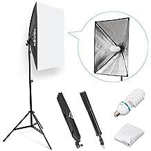 ESDDI Softbox, Kit d'éclairage Studio avec 1x50x70cm Softbox kit, 2m Ajustable Softbox Monture Universelle et 1x85W E27 5500K Lamp Studio Photo pour l'Enregistrement Vidéo