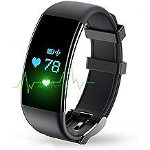 tianjie impermeable IP67pulsera inteligente Fitness Tracker pulsera de reloj inteligente con monitor de frecuencia cardíaca para Android IOS y hombres mujeres niños niñas señoras hombre niño, negro