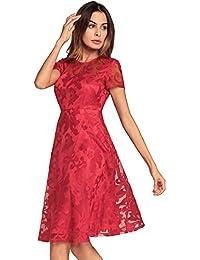 5bda94abc5 Easy Go Shopping Vestidos de Fiesta Mujeres Sexy Hollow out Lace Vestido de  Verano Elegante Midi Manga Corta Sólido Volver Zip Casual…