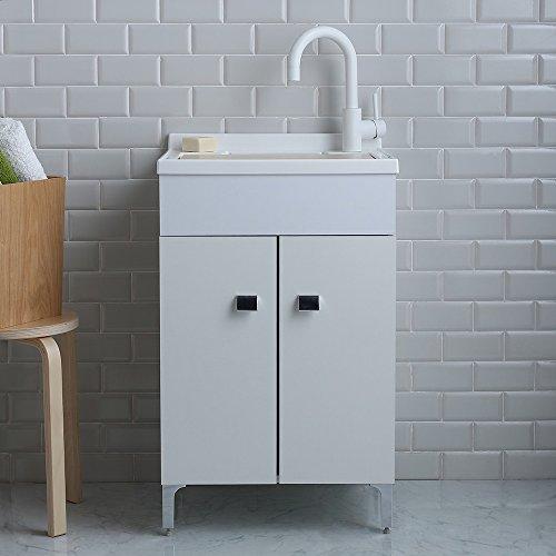 Lavatoio lavanderia 50x50 cm con mobile bianco e asse inclusa