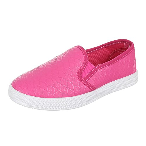Kinder Schuhe, 946-1, BALLERINAS, SLIPPER, Synthetik in hochwertiger Lederoptik , Pink, Gr 35