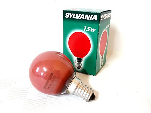 2x Sylvania 0008648 Color rot 15W E14 Glühlampe Lampe Glühbirne Birne 15 Watt Red 230V Durchmesser: 45mm Länge: ca 75mm (Glühbirne Sylvania)