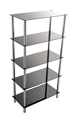 Tempered Glass Bookcase - 5-Tier Shelves Steel Chrome Legs - Display Rack for Ornaments and Books, Black Finish