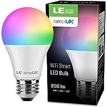 Bombilla LED Inteligente WiFi Regulable, LE Bombilla WiFi E27 9W Equivalente a 60W, 16 Millones de Colores 806 lúmen, Lámpara WiFi Luz RGBW Blanca 2700K-6500K Compatible con Alexa, Google Home,1 Pcs