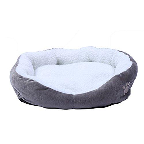 NiceButy Extraíble Perro Cave Redonda o Oval Cama para Animal doméstico Gato Cama Forma Simple Polar Nidification para Perro Gato Animales de Pequeña Talla Gris S