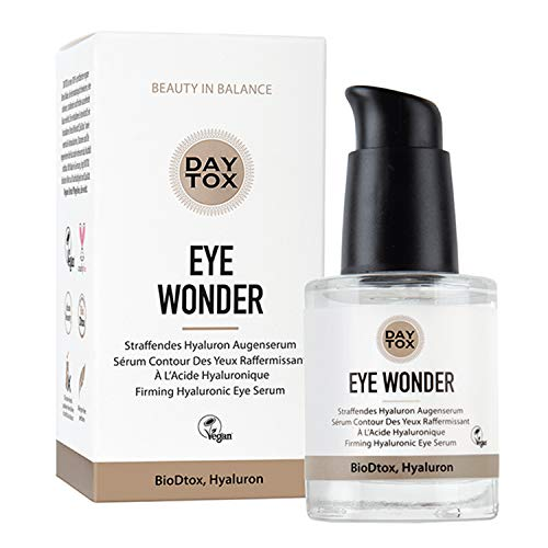 DAYTOX - Eye Wonder - Straffendes Hyaluron Augenserum, hochdosiert mit Sofortwirkung - Vegan, ohne Farbstoffe, silikonfrei und parabenfrei - 1 x 30 ml