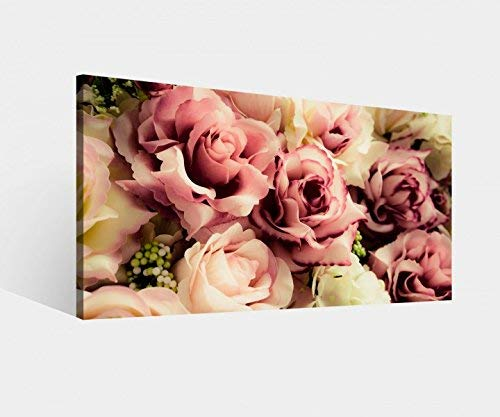 Leinwandbild Blume Blumen Muster Rosen braun weiss Vintage Hintergrund Leinwand Bild Bilder Wandbild Holz Leinwandbilder vom Hersteller 9W852, Leinwand Größe 1:60x30cm