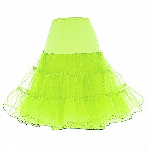 """IMUYI Les années 1950 Vintage Femmes Retro Underskirt Tutu Jupe 26 """"Longueur Petticoat Fruit Green"""