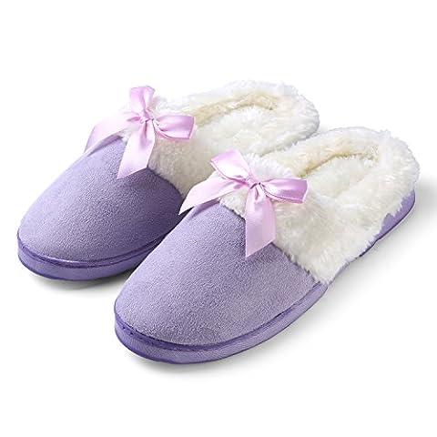 Aerusi Cozy Dreamer, Damen Durchgängies Plateau Sandalen mit Keilabsatz , violett - violett - Größe: (Dark Pink Suede Schuhe)