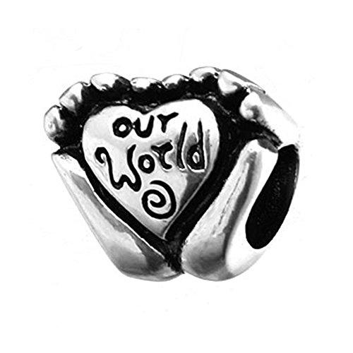 Sandcastle fascino della mamma regali mondo in mani con cuore in argento sterling 925charm per braccialetti charm europei di gioielli