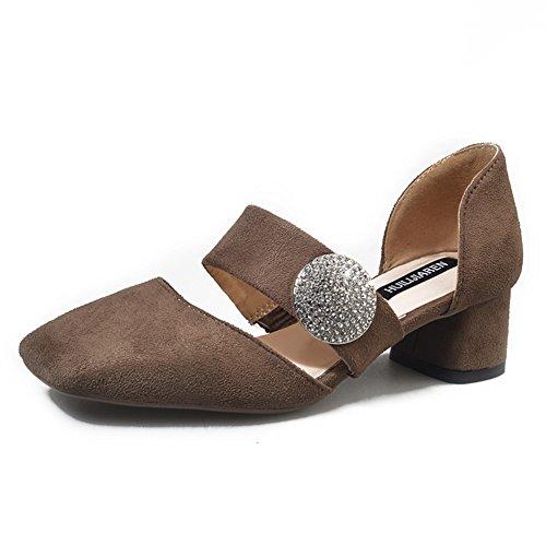 Dame de chaussures de mode de printemps/La version coréenne des tête carrée chaussures légères de Joker/chaussure de boucle suede talons chunky C