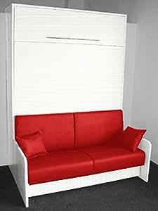 Armoire lit escamotable SPACE SOFA chêne blanc, canapé intégré rouge, couchage 160 * 20 * 200 cm.