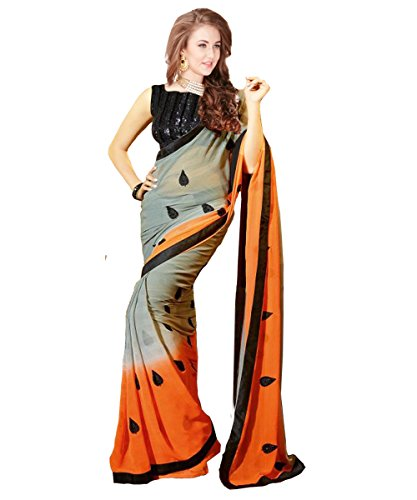 Glory Sarees Chiffon Saree (Glory102Grey_Grey And Orange)