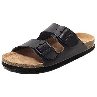 Herren Bio Pantoletten Tieffußbettpantoletten Sandalen ECHTES LEDER schwarz Gr. 43