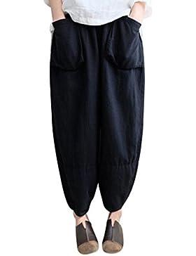 Mounter - Pantalón Largo para Mujer, Talla Grande, Estilo Vintage, con Cintura Elástica, Cómodo y Casual, Tela...