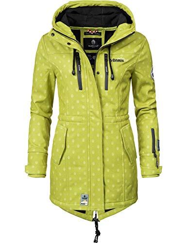 Marikoo Mountain Damen Softshell-Jacke Outdoorjacke Zimtzicke Grün Dots Gr. L