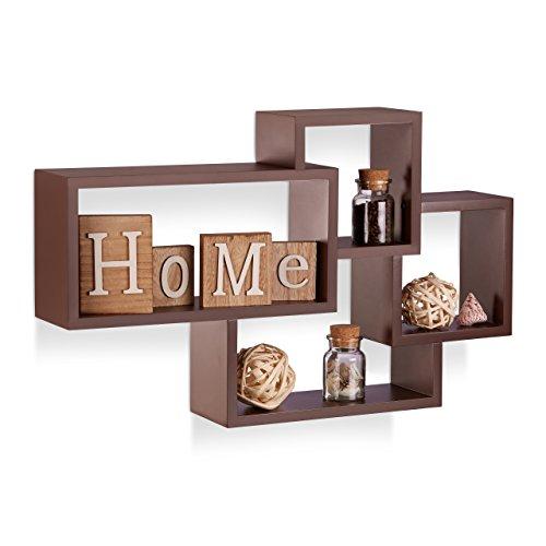 Relaxdays Wandregal Cube, 4 Fächer, Freischwebend, Modernes Design, Dekorativ, Belastbar, MDF, HBT:...
