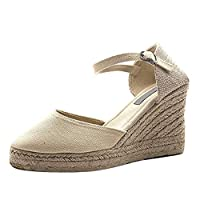 Tomatoa Sandals Wedges Women,Ladies Platform High Heel Sandals Buckle Strap Canvas Shoes Solid Color Thick-Soled Round Toe Sandals Fashion Summer Outdoor Beach Sandals Shoes Beige