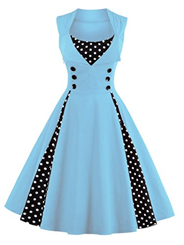 VERNASSA 50s Retro Kleider, Damen Vintage 1950er A-line Baumwoll Swing Kleid für Rockabilly Evening...