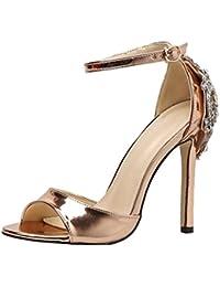 8a8fdd9d65f216 HKFV Römische Schnalle Schuhe Frauen Sandalen Sexy Sandalen High Heels Frau  Stiefeletten Party Hochzeit Sandalen Fersen Spitze…