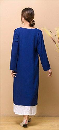 Aivtalk - Robe Femme Fille Longue à Col V en Coton Lin - Robe Vintage en Double Manches Longues Bleu