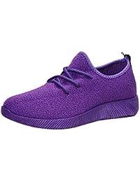 Zapatos simple con correa planos para mujer,Sonnena Zapatos respirables de boca baja para mujeres Flying tejido color caramelo con red Zapato de estudiante