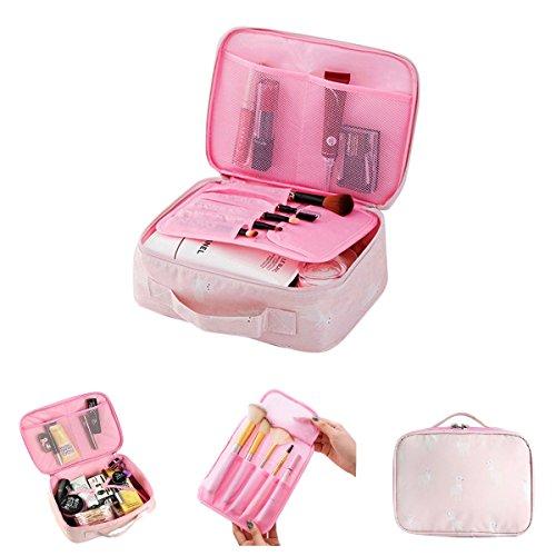Meetlight Make-up-Taschen, tragbare Reise Kosmetiktaschen wasserdicht Kulturwaschbeutelbürste Beutel Make-up Tasche für Frauen Mädchen (Pink Alpaca)